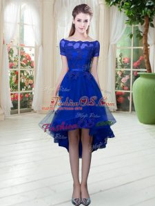 Short Sleeves High Low Appliques Lace Up Prom Gown with Royal Blue