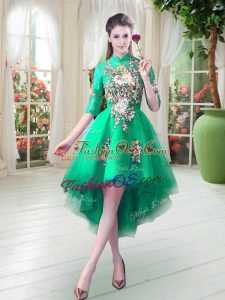 Dazzling Turquoise High-neck Neckline Appliques Half Sleeves Zipper