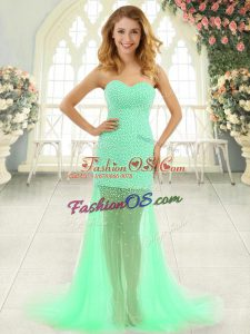 Sumptuous Sleeveless Brush Train Zipper Beading Prom Party Dress