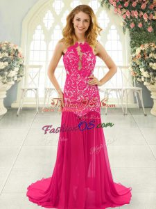 Superior Backless Prom Gown Hot Pink for Prom and Party with Lace Brush Train