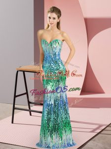 Sexy Floor Length Column/Sheath Sleeveless Multi-color Lace Up