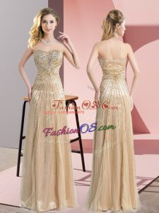 Lovely Champagne Dress for Prom Prom and Party and Military Ball with Beading Sweetheart Sleeveless Zipper