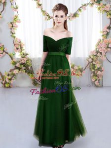 Fantastic Floor Length Green Dama Dress for Quinceanera Tulle Short Sleeves Ruching