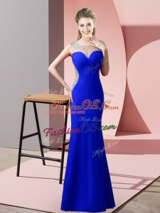 Fancy Royal Blue Mermaid Beading and Pick Ups Prom Dresses Zipper Satin Sleeveless Floor Length