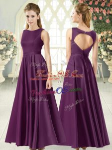 Purple Empire Ruching Prom Evening Gown Backless Satin Sleeveless Floor Length