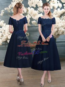 Luxury Navy Blue A-line Lace Prom Dresses Zipper Short Sleeves Tea Length