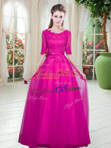Half Sleeves Tulle Floor Length Lace Up Prom Gown in Fuchsia with Lace