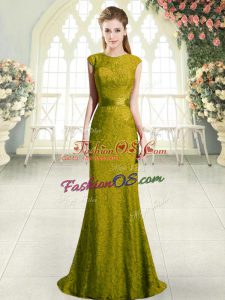 Dramatic Gold Backless Custom Made Cap Sleeves Sweep Train Beading and Lace
