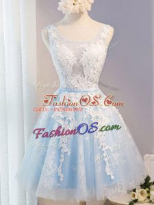 Glittering Knee Length A-line Sleeveless Baby Blue Dress for Prom Lace Up