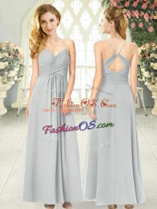 Beautiful Grey Sleeveless Ruching Ankle Length Prom Dress