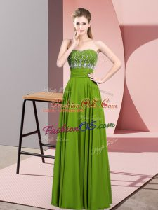 Chiffon Strapless Sleeveless Zipper Beading Prom Gown in Green