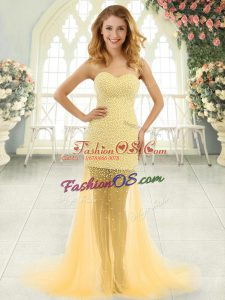 Hot Sale Gold Zipper Sweetheart Beading Prom Gown Tulle Sleeveless Brush Train