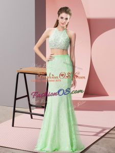 Fashionable Apple Green Prom Gown Prom and Party and Military Ball with Beading and Lace Halter Top Sleeveless Backless