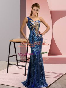 Blue Prom Evening Gown One Shoulder Sleeveless Sweep Train Lace Up