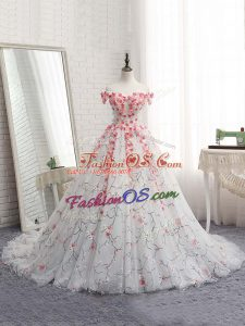 Sleeveless Tulle Brush Train Lace Up 15 Quinceanera Dress in White with Appliques
