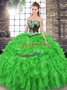 Clearance 15th Birthday Dress Military Ball and Sweet 16 and Quinceanera with Embroidery and Ruffles Sweetheart Sleeveless Sweep Train Lace Up
