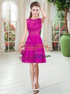 Luxury Satin Scalloped Sleeveless Zipper Lace Homecoming Dress in Fuchsia