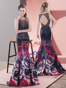 Multi-color Printed Backless Dress for Prom Sleeveless Sweep Train Beading