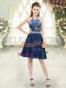 Knee Length Zipper Dress for Prom Blue for Prom and Party and Military Ball with Beading