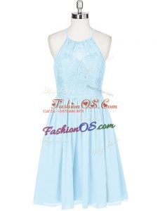 Lovely Halter Top Sleeveless Chiffon Homecoming Dress Lace Backless