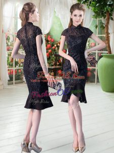 High-neck Short Sleeves Zipper Lace Casual Dresses in Black