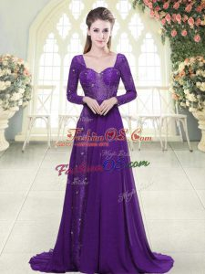 Fancy Eggplant Purple Sweetheart Neckline Beading and Lace Prom Gown Long Sleeves Backless