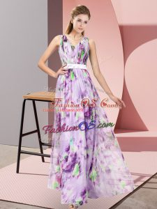 Super Multi-color Empire Printed V-neck Sleeveless Pattern Floor Length Zipper Evening Dress