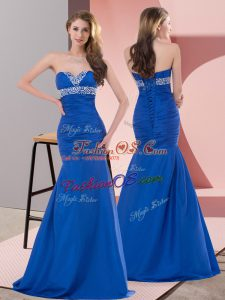 On Sale Satin Sweetheart Sleeveless Lace Up Beading and Ruching Prom Gown in Blue