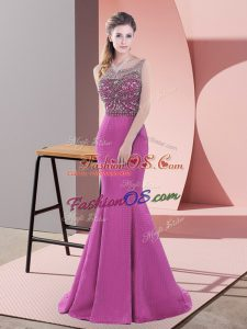 Satin Sleeveless Dress for Prom Sweep Train and Beading