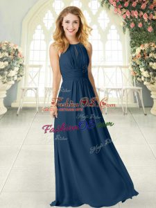 Best Selling Navy Blue Empire Chiffon Scoop Sleeveless Ruching Floor Length Zipper Prom Evening Gown