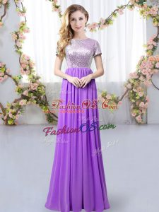 Flirting Purple Scoop Neckline Sequins Bridesmaids Dress Short Sleeves Zipper