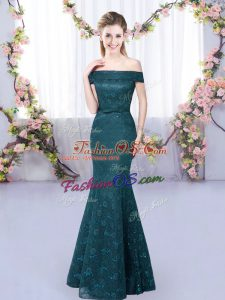 Off The Shoulder Sleeveless Lace Up Lace Court Dresses for Sweet 16 in Peacock Green