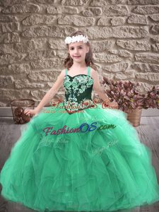 Gorgeous Floor Length Turquoise Girls Pageant Dresses Straps Sleeveless Lace Up