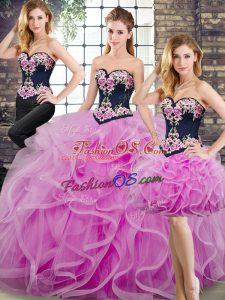 Noble Lace Up 15 Quinceanera Dress Lilac for Military Ball and Sweet 16 and Quinceanera with Beading and Embroidery and Ruffles Sweep Train
