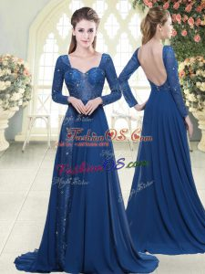 Affordable Blue Zipper Sweetheart Beading and Lace Prom Dresses Chiffon Long Sleeves Sweep Train