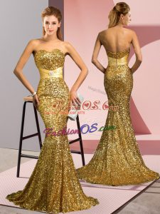 Gold Zipper Sweetheart Beading Evening Dress Sequined Sleeveless Sweep Train