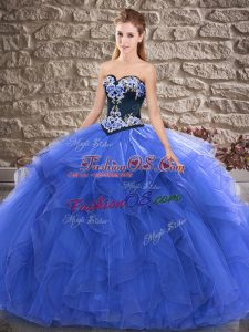 Best Sweetheart Sleeveless Lace Up Sweet 16 Dress Blue Tulle