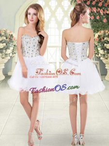 New Arrival White Sweetheart Neckline Beading Party Dress for Girls Sleeveless Lace Up