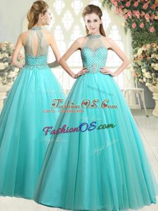 Customized Beading Prom Dresses Aqua Blue Zipper Sleeveless Floor Length