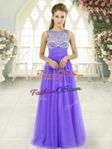 Elegant Lavender Tulle Side Zipper Scoop Sleeveless Floor Length Prom Gown Beading