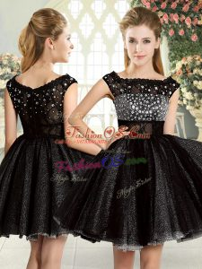 Beauteous Tulle Square Sleeveless Zipper Beading Prom Party Dress in Black