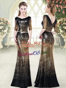 V-neck Half Sleeves Floor Length Belt Gold Sequined