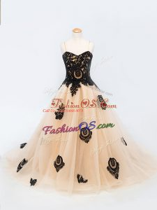 Lace Up Kids Formal Wear Peach for Wedding Party with Appliques Brush Train