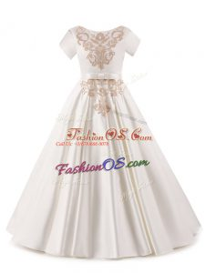 High Class White Zipper Little Girls Pageant Gowns Appliques Short Sleeves Floor Length