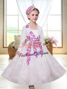 Customized White Sleeveless Lace Zipper Toddler Flower Girl Dress for Wedding Party