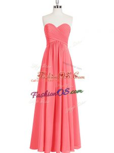 Hot Selling Sweetheart Sleeveless Zipper Prom Gown Watermelon Red Chiffon