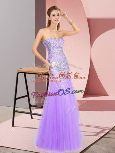 Perfect Sweetheart Sleeveless Zipper Prom Party Dress Lavender Tulle
