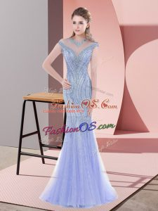 Baby Blue Prom Dress Tulle Sweep Train Sleeveless Beading and Lace