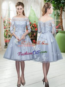 Strapless 3 4 Length Sleeve Tulle Homecoming Dress Appliques Lace Up