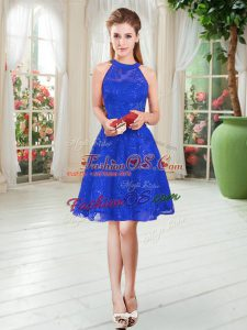 Lace Homecoming Dress Royal Blue Zipper Sleeveless Knee Length